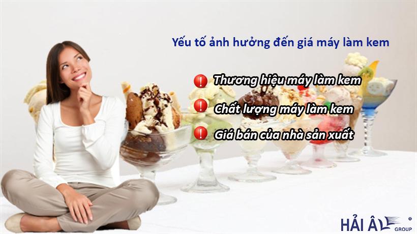 giá máy làm kem tươi phụ thuộc vào đâu